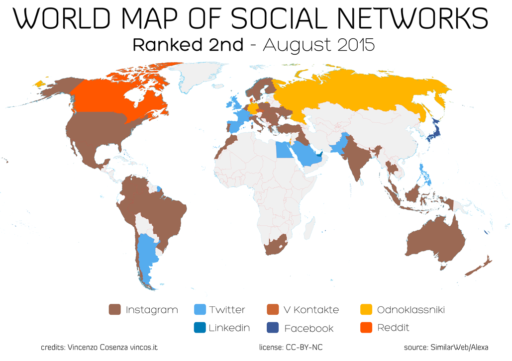 World map of social networks (ranked 2)